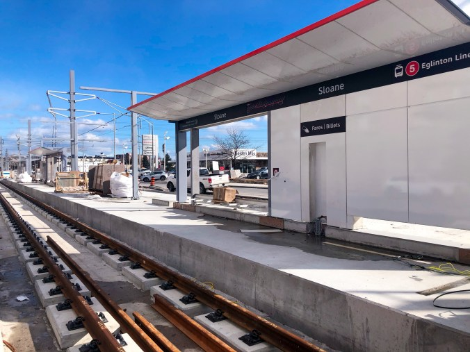 The newly installed structures at the Sloane stop are now waiting on their finishing touches