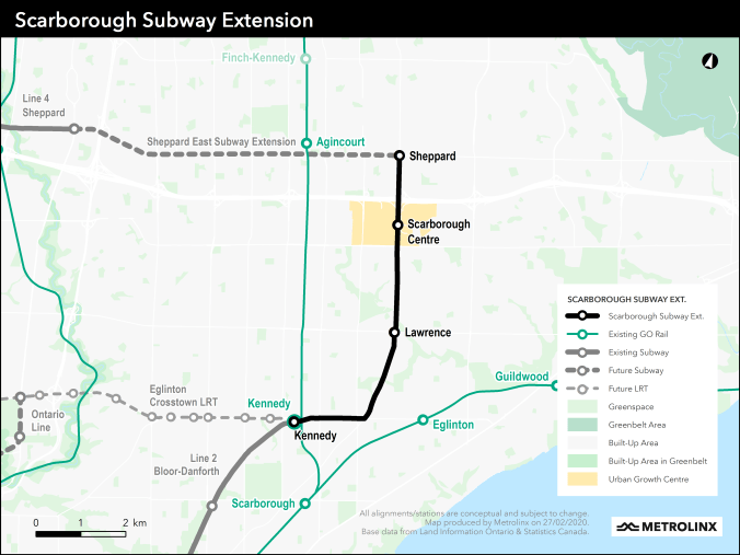 Image shows a map of the Scarborough Subway Extension