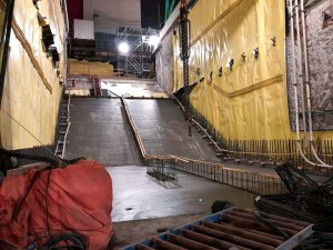 Image shows new concrete inside the construction area of the station.