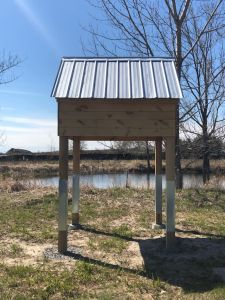 Image shows the bird hotel.