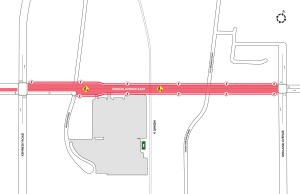Image shows a map of the street closure.