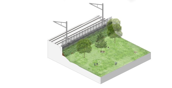 This image shows how landscaping could be used to enhance space near the existing rail tracks, next to Jimmie Simpson Park. The exact location, height and design will be confirmed as planning work continues.
