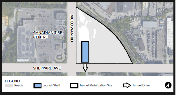 Image is a graphic showing the location of the launch shaft.