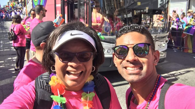 Adam Jagdat poses for a photo with his mom at a recent Pride parade