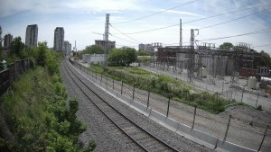Image shows the view along the tracks.