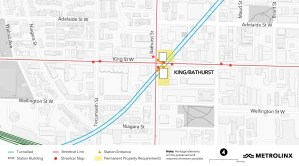 An updated map of the King and Bathurst station for the Ontario Line