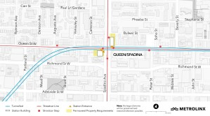 An updated map of the Queen and Spadina station for the Ontario Line