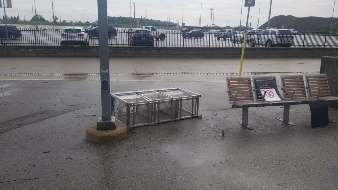 Debris litters the ground outside Barrie South GO Station