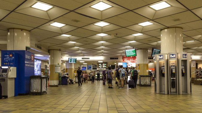 a wide view of people in the old bay concourse