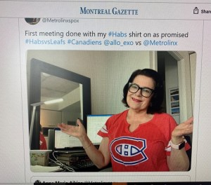 Anne Marie shows her Montreal Canadians shirt on the Montreal Gazette site.