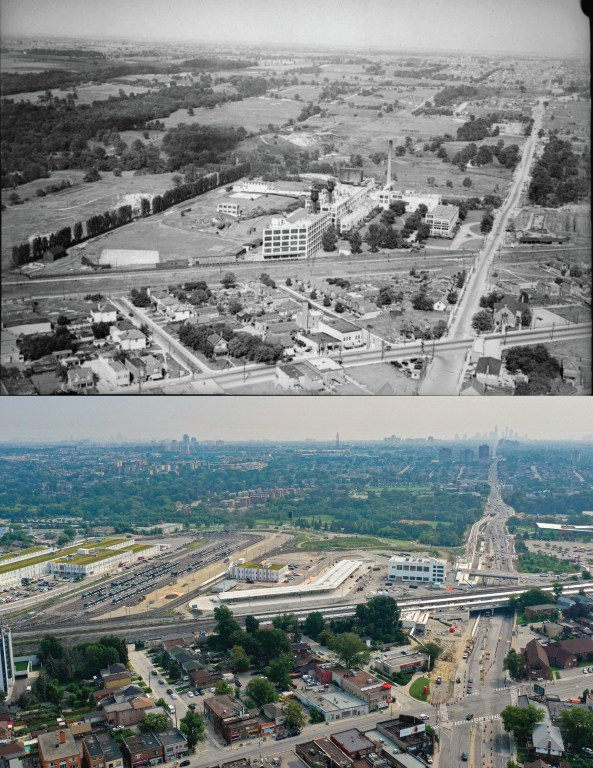 Aerial shot of the Kodak lands in Toronto's Mount Dennis neighbourhood. 1930 at the top and present day on the bottom.