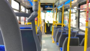 Image shows the inside of a bus