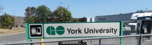 A GO sign sits at York University.