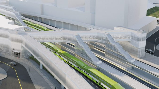 The new East Harbour GO station. Artist's rendering, final designs are subject to change.
