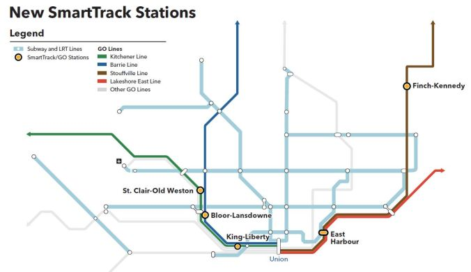 Map showing the SmartTrack stations across the City of Toronto.