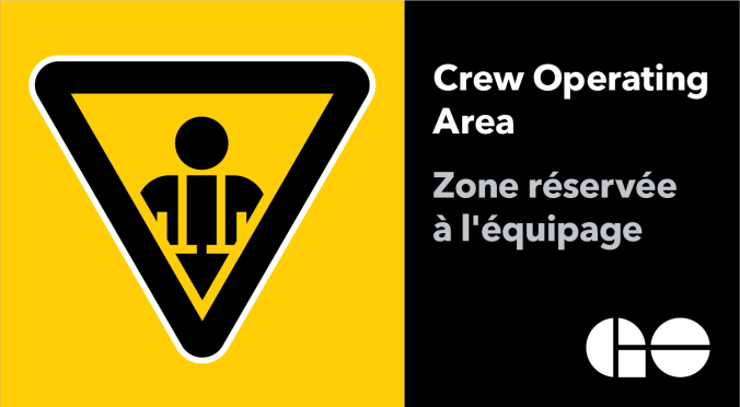Image shows the decal with 'Crew Operating Area' on it