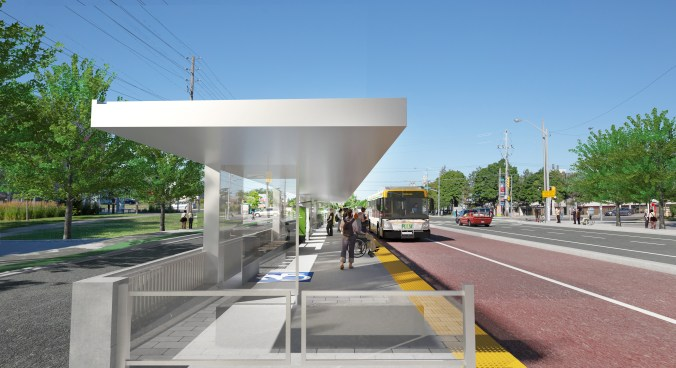 Artist's rendering of the Durham-Scarborough showing what a stop would look like from a customer perspective
