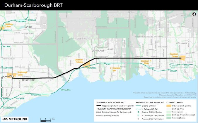 The latest route map for the Durham-Scarborough BRT.