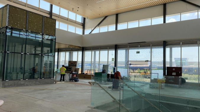 Inside the new station building at Bramalea GO Station, which was still getting some finishing touches when this photo was taken.