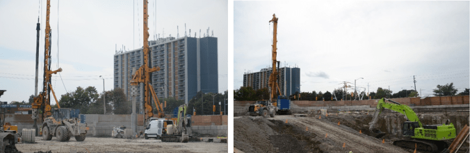 A comparative look at the construction site before and after pile drilling