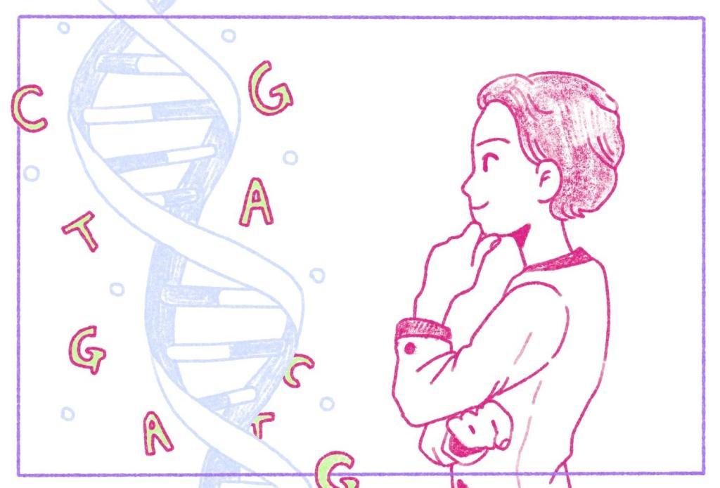 cientista olhando para a dupla-hélice de DNA