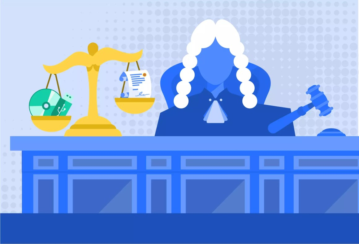 Documentos firmados con la FIEL / e.firma como medio de prueba en juicios en México. Imagen ilustrativa que muestra a un juez y la balanza de la justicia que en un lado sostiene una memoria USB y un CD y en otra un documento firmado en papel