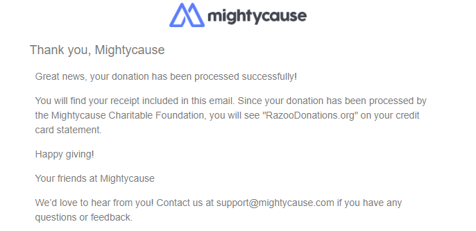accessing receipts and annual giving statements on mightycause