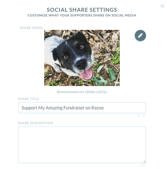 Screenshot of Social Sharing setting upload window
