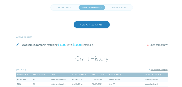 matching grants dashboard