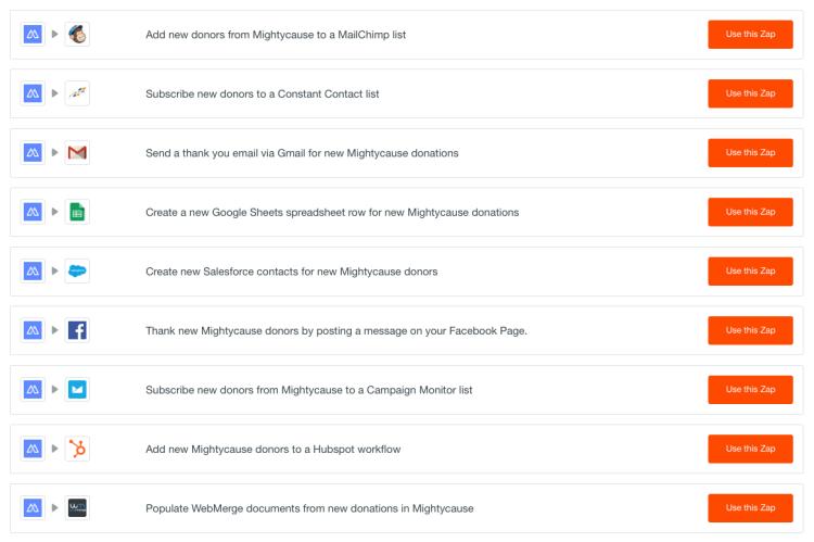 screenshot of mightycause zapier integration