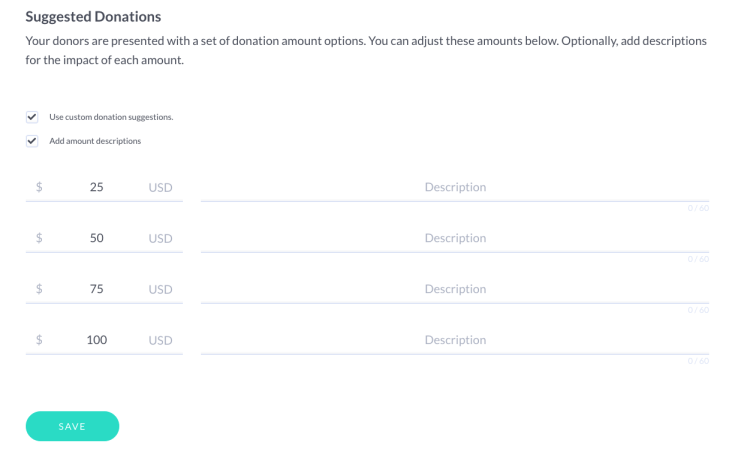 screenshot of suggested donation amounts tool on mightycause