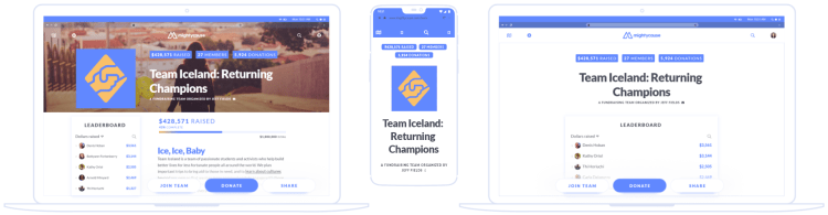 team layout on desktop and mobile