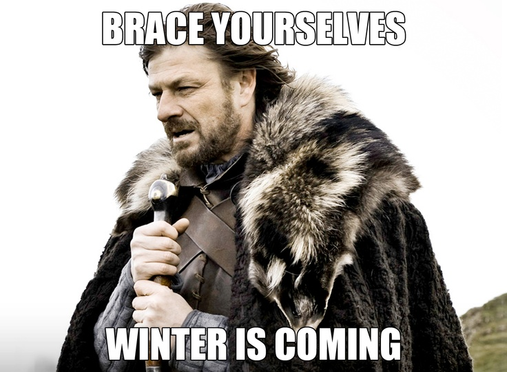 """image of ned stark with the text """"winter is coming"""" overlayed"""