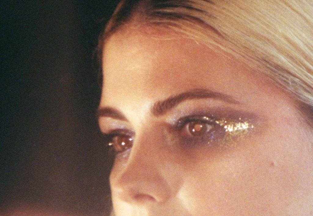 Close up of red eye on still film