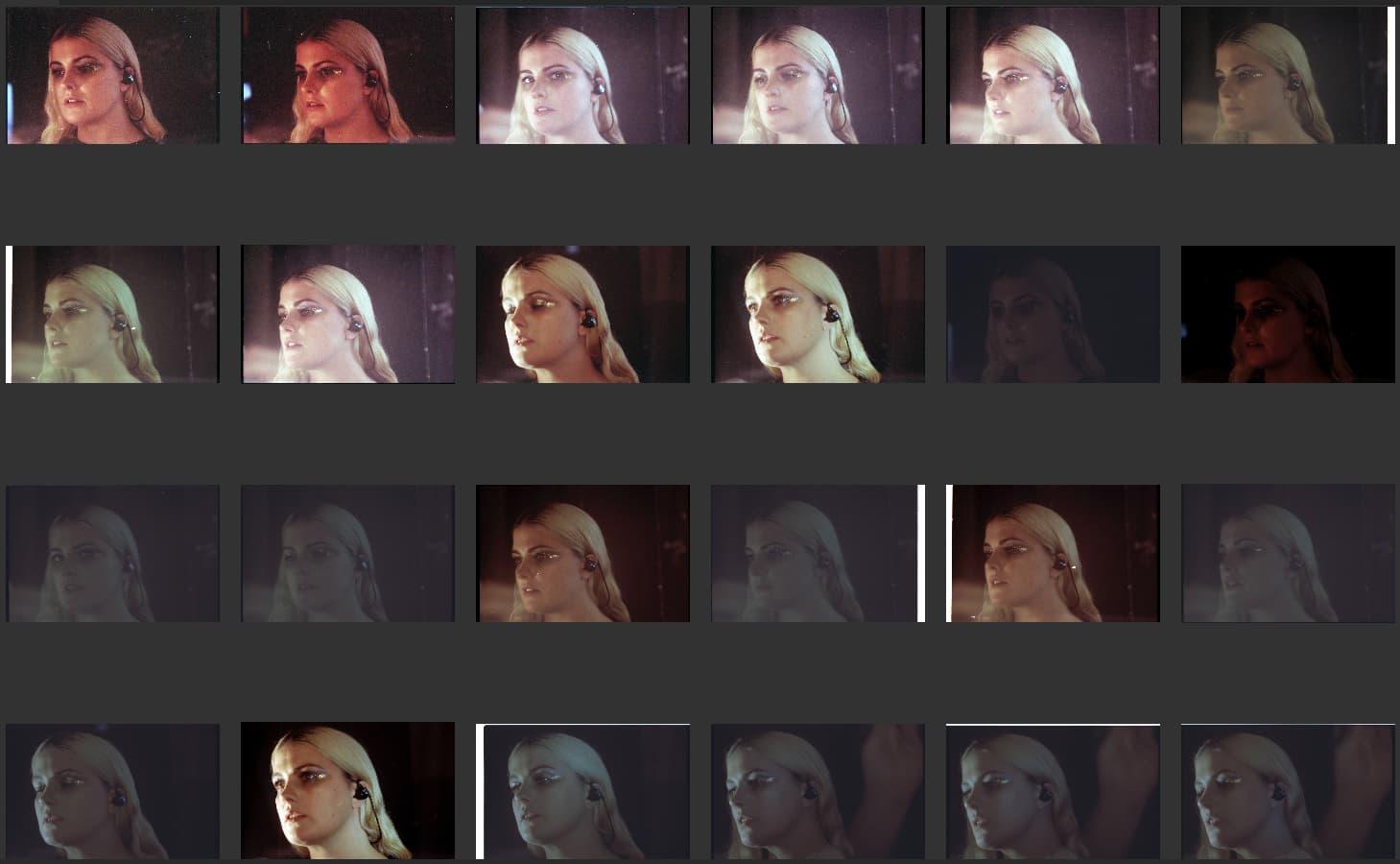 Various versions of Blade Runner red eyes