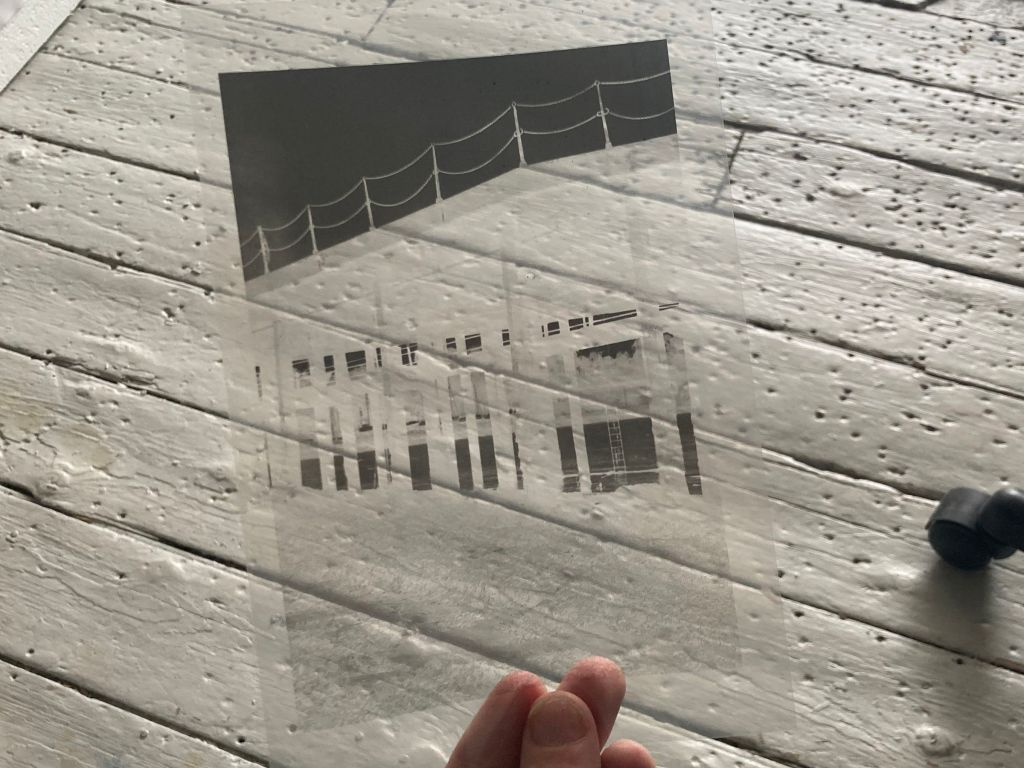 A transparency of a boat pier