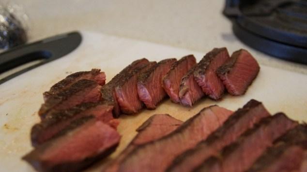 sous vide steak sliced