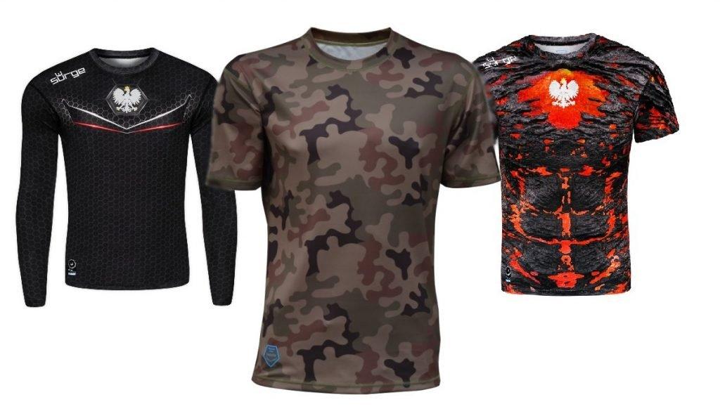 Odzież sportowa, patriotyczna, nadruki na koszulki