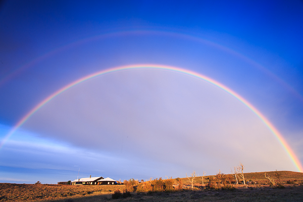 A double rainbow over the lodge on the second morning.