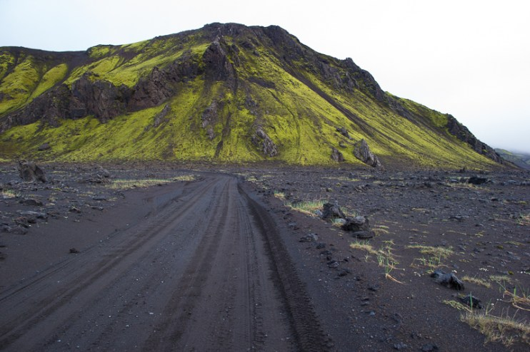 Road across the lava field...