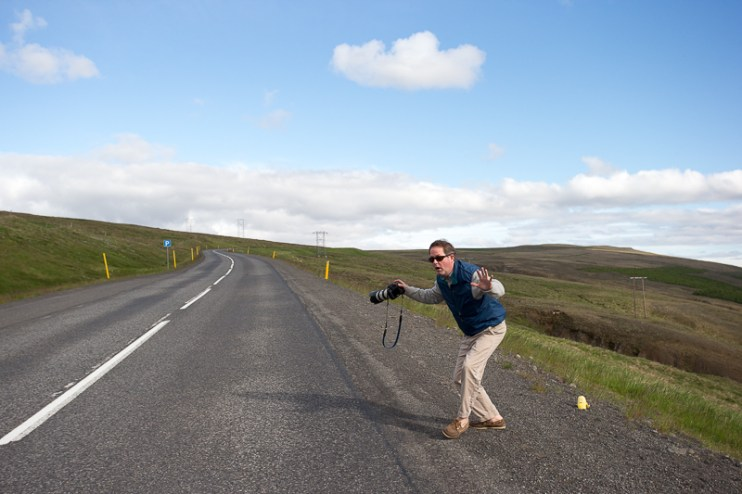 Evan prepares to cross and busy Icelandic road!