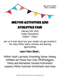 Milton Athletics and Activities fair Color