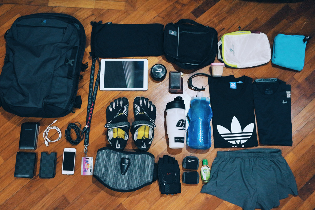 Joshua Chew's Minaal Carry-on Backpack and Gym Essentials