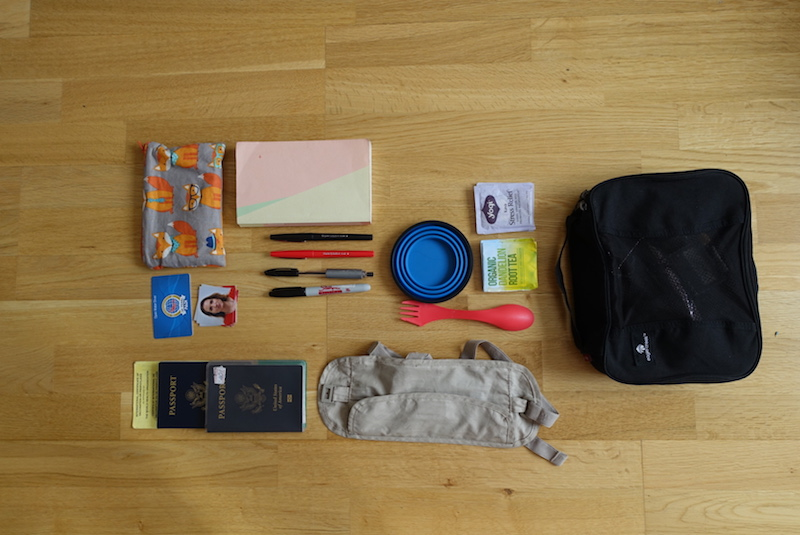 Travel gear packed in the device compartment