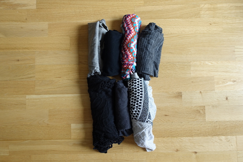 Travel gear packed into small stuff sack in main compartment of Minaal Carry-on