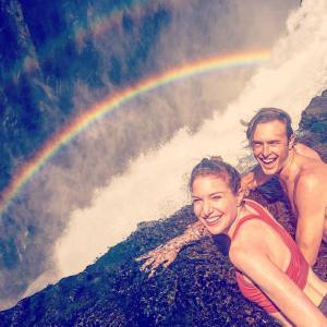 Jeanette Mellinger and Jeremy Kimmel looking over Victoria Falls, Zimbabwe