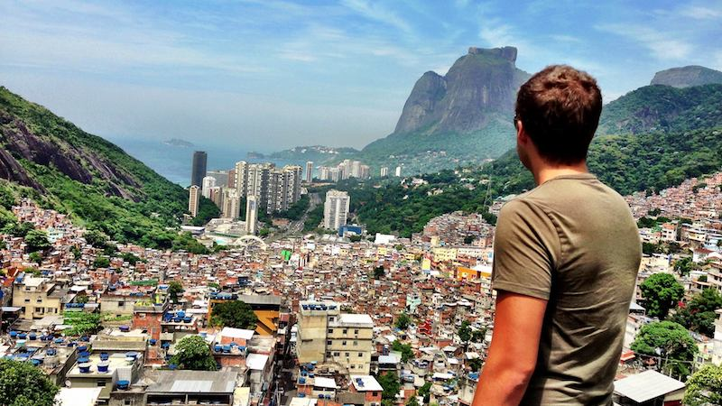 How fast do digital nomads travel - Mark Manson looking out over Rio