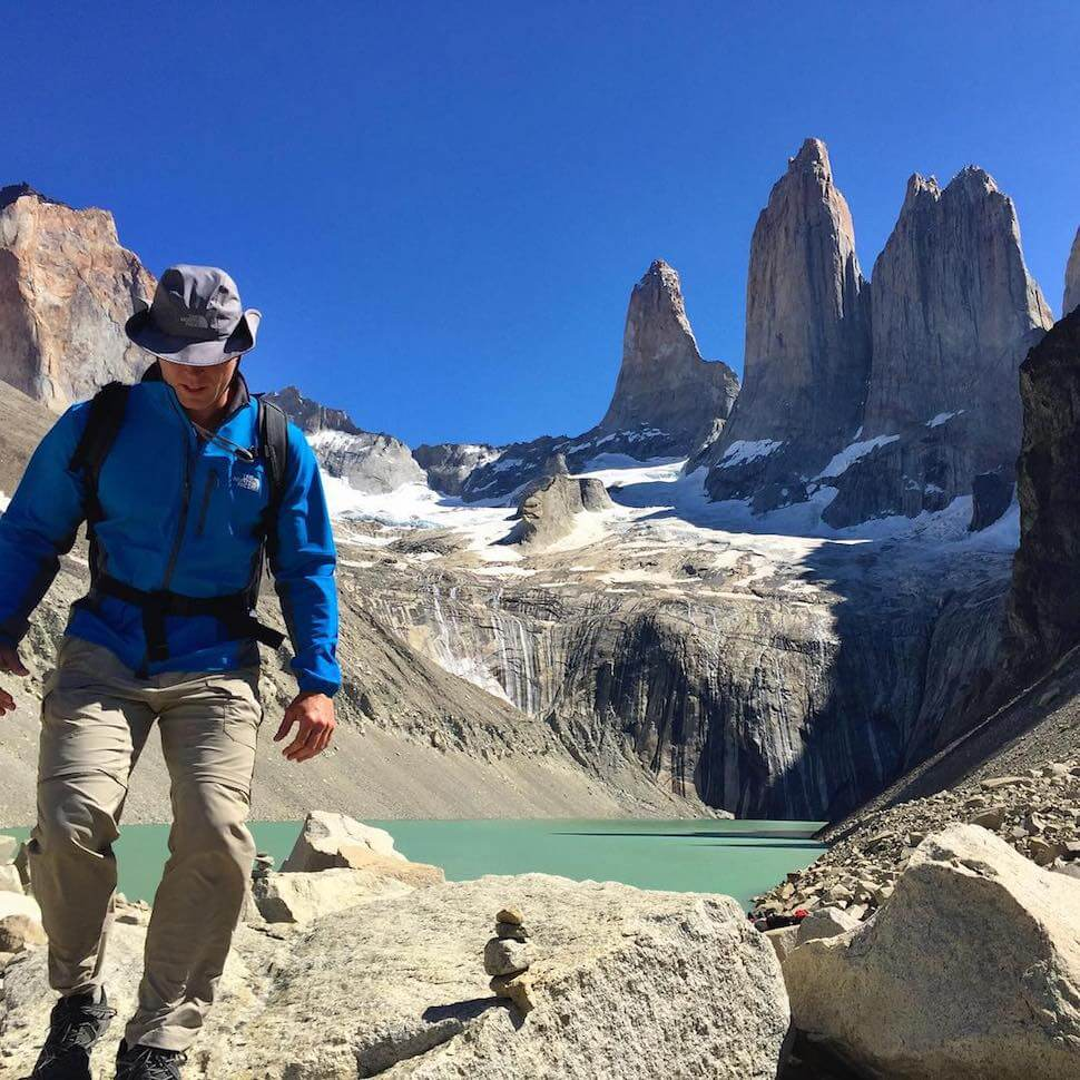 Sam Marks hiking near Mount Fitz Roy in Argentina with his Minaal Carry-on 2.0 hiking backpack