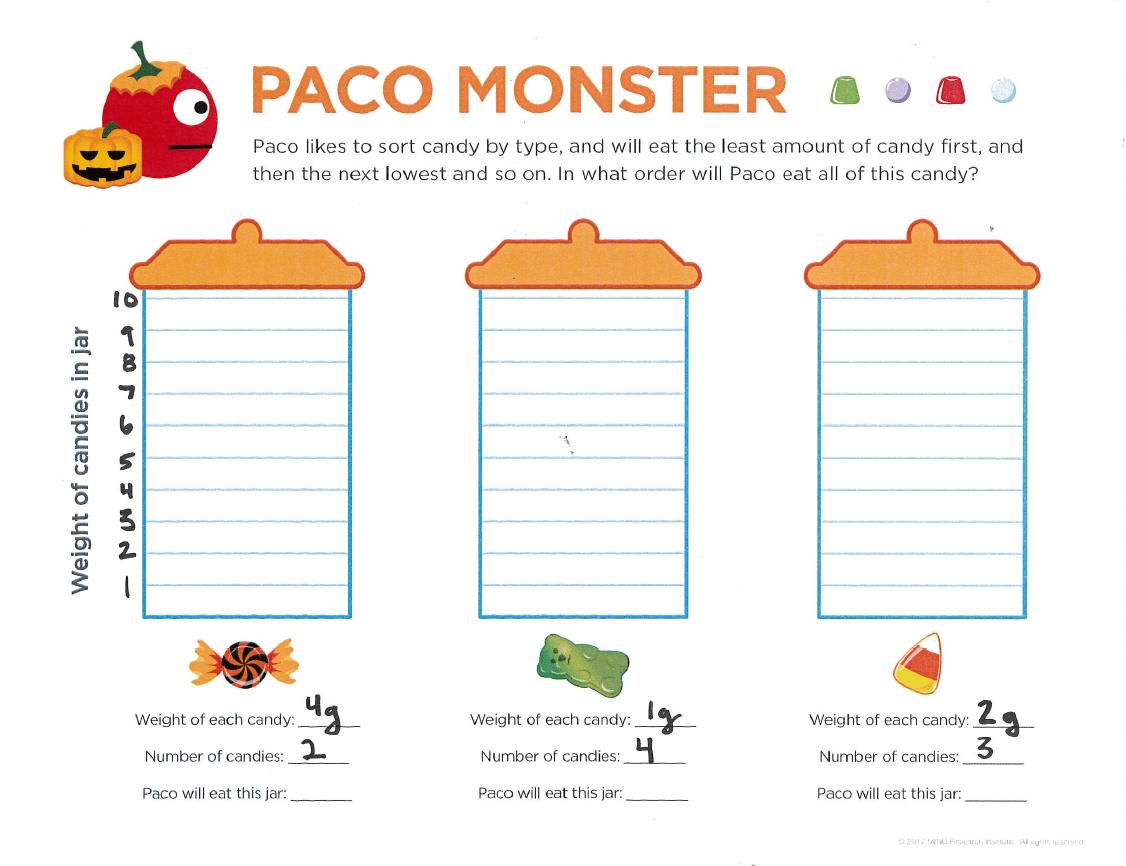 Paco Monster Free Halloween Math Activity Grades 3 6