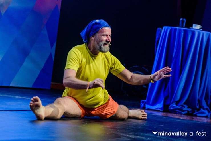Wim Hof on stage at A-Fest